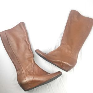 BP Cognac Leather Wedge Riding Boots Size 8.5M
